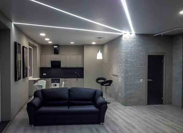 Подсветка рабочей зоны кухни точечными светильниками №2
